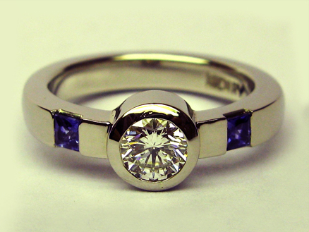 Palladium Diamond w/round brilliant & sapphires
